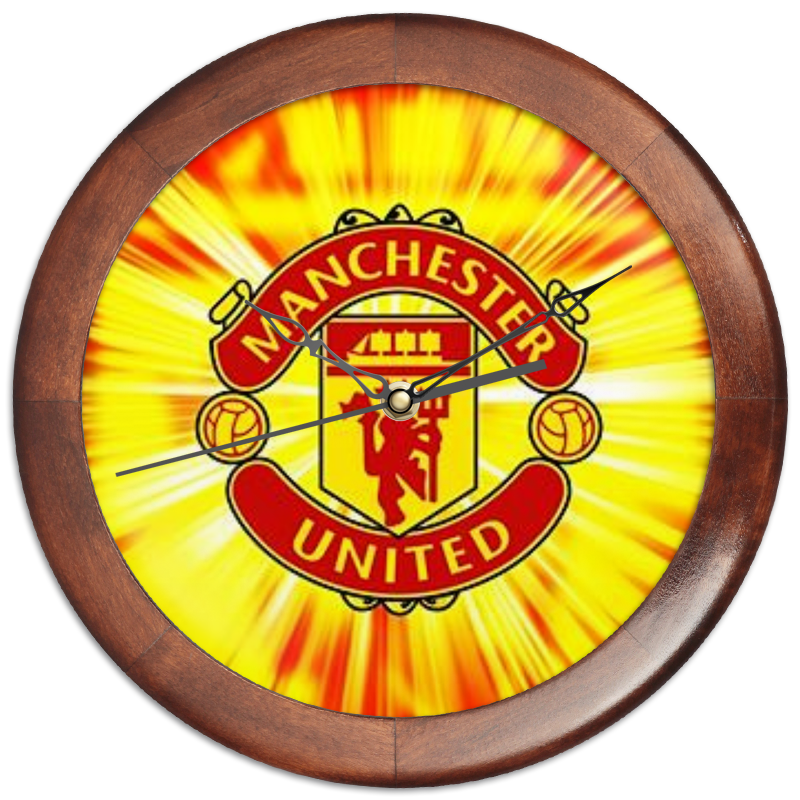 все цены на Часы круглые из дерева Printio Manchester united