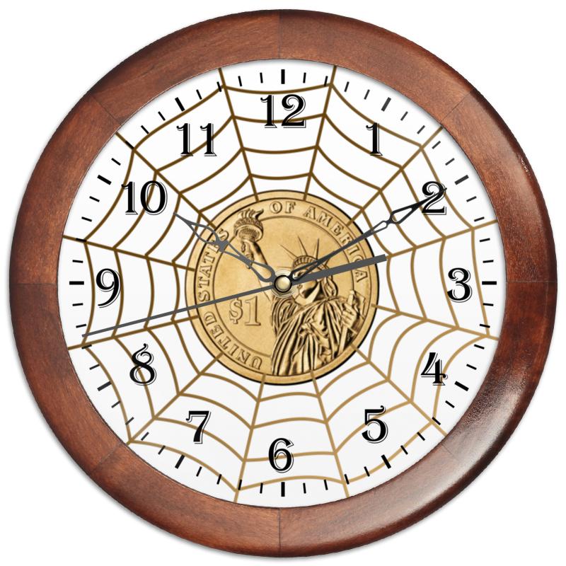 Часы круглые из дерева Printio Доллар в паутине.