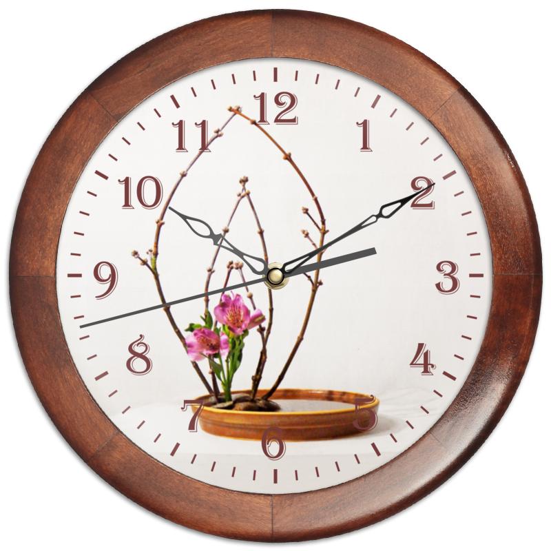 Часы круглые из дерева Printio Икебана / ikebana свадебная композиция