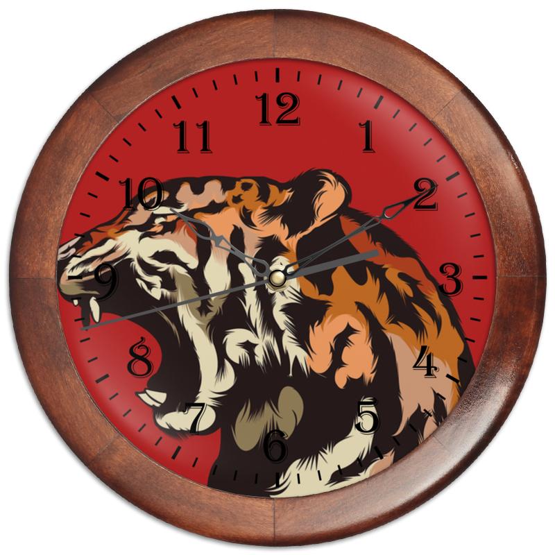 Часы круглые из дерева Printio Тигр арт пазл 360 арт терапия тигр 02349