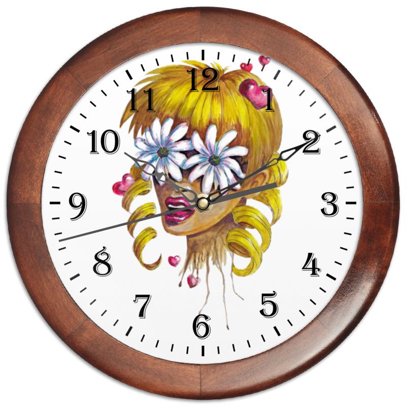 Часы круглые из дерева Printio Без ума от цветов