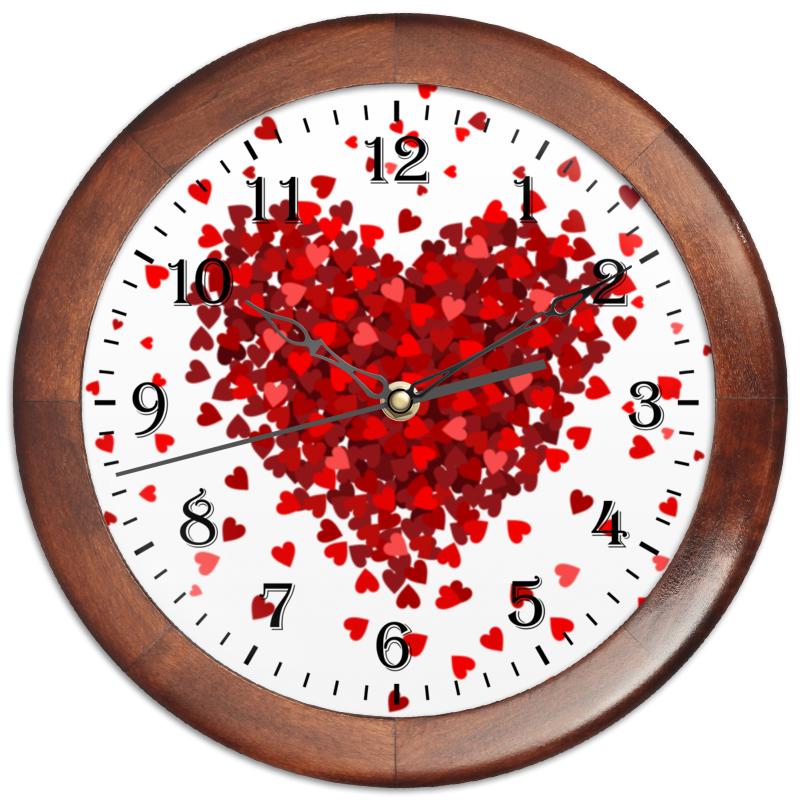 Часы круглые из дерева Printio Сердце с лепестками часы из дерева для дома