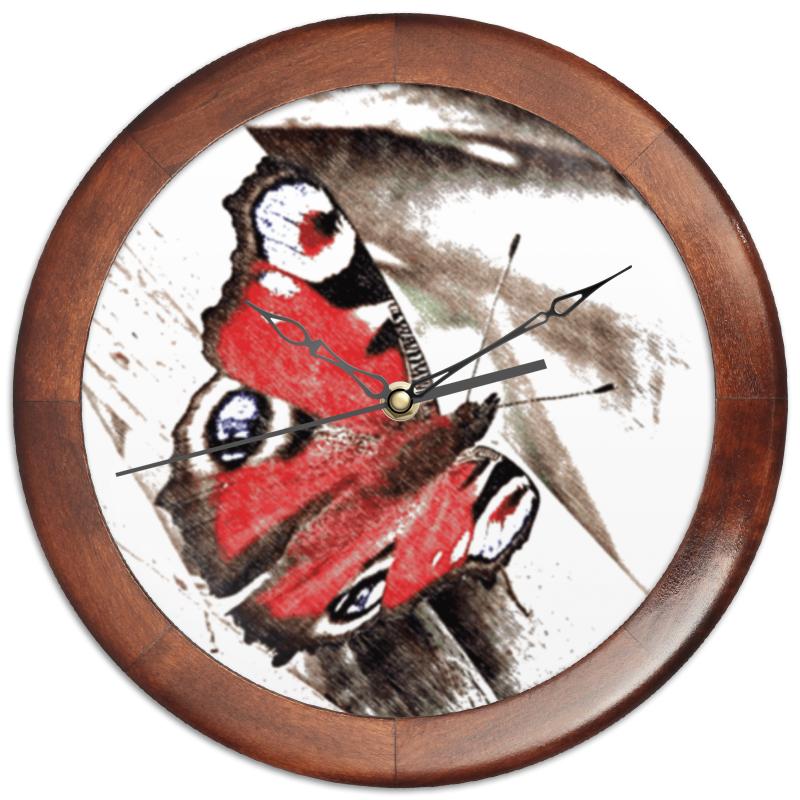 Часы круглые из дерева Printio Бабочка бусы из дерева бабочка ндр 058 зн