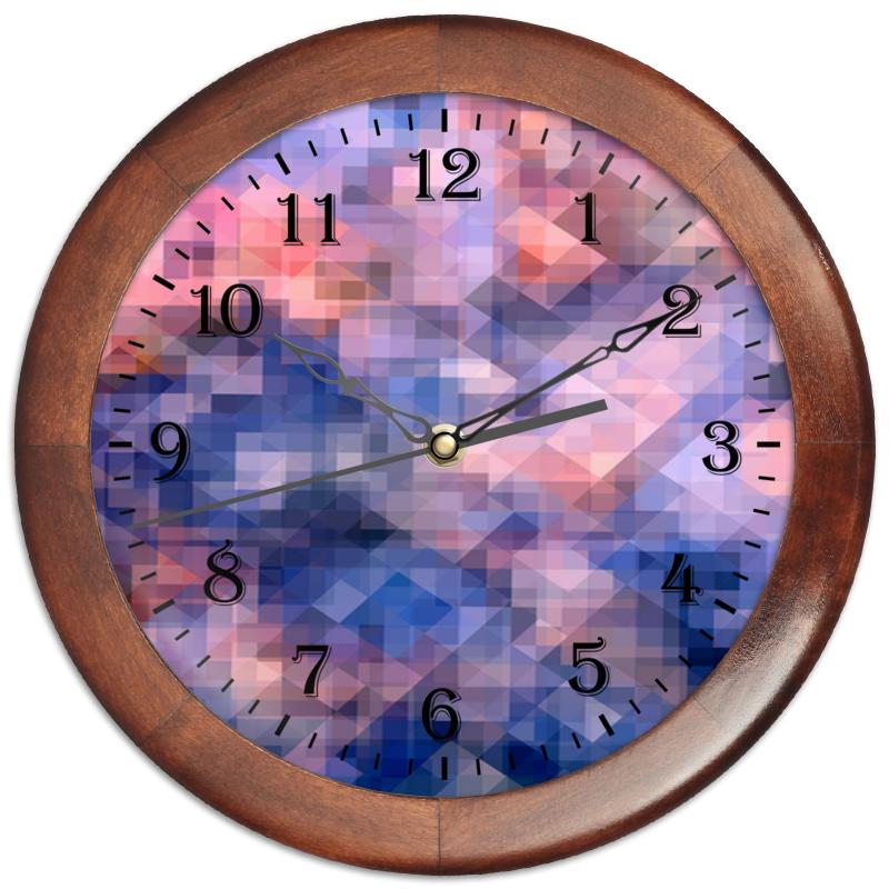 Часы круглые из дерева Printio Пиксель-арт. сине-розовый паттерн edison детский стакан из нержавеющей стали розовый 240мл