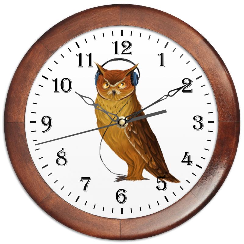 Часы круглые из дерева Printio Сова в наушниках холст 20х30 printio сова в наушниках