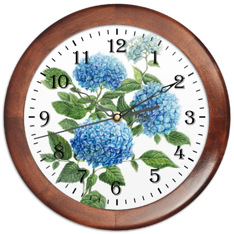 Часы круглые из дерева Printio Голубая гортензия цена