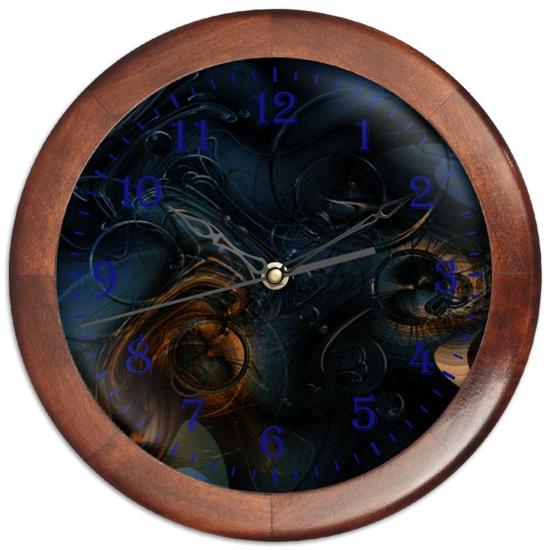 где купить Часы круглые из дерева Printio Стимпанк. абстракция дешево