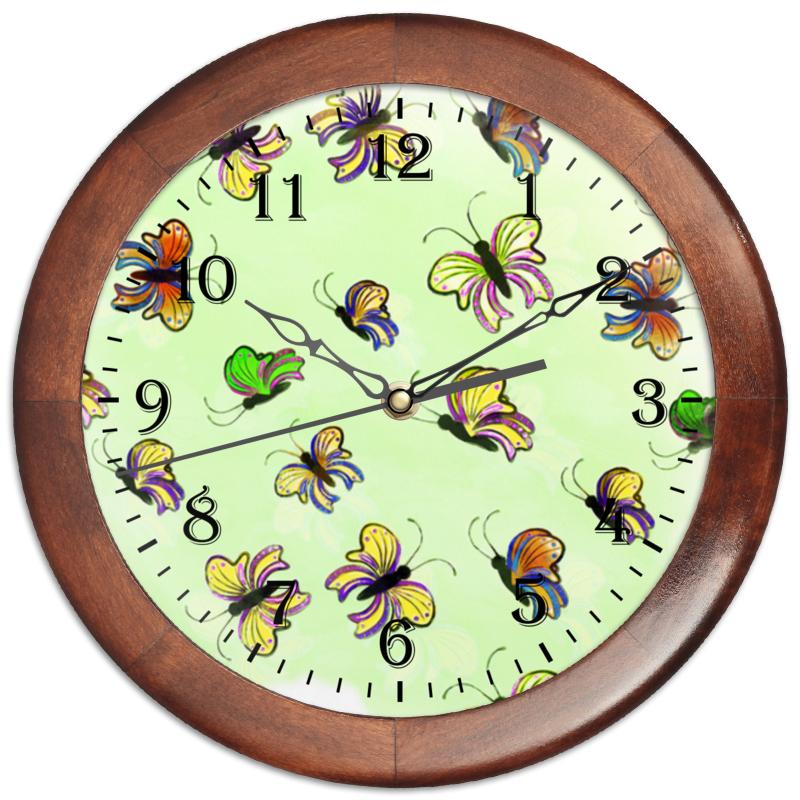 Часы круглые из дерева Printio Бабочки