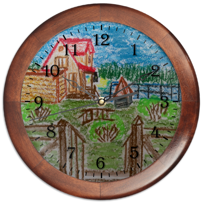 Часы круглые из дерева Printio Домик в деревне