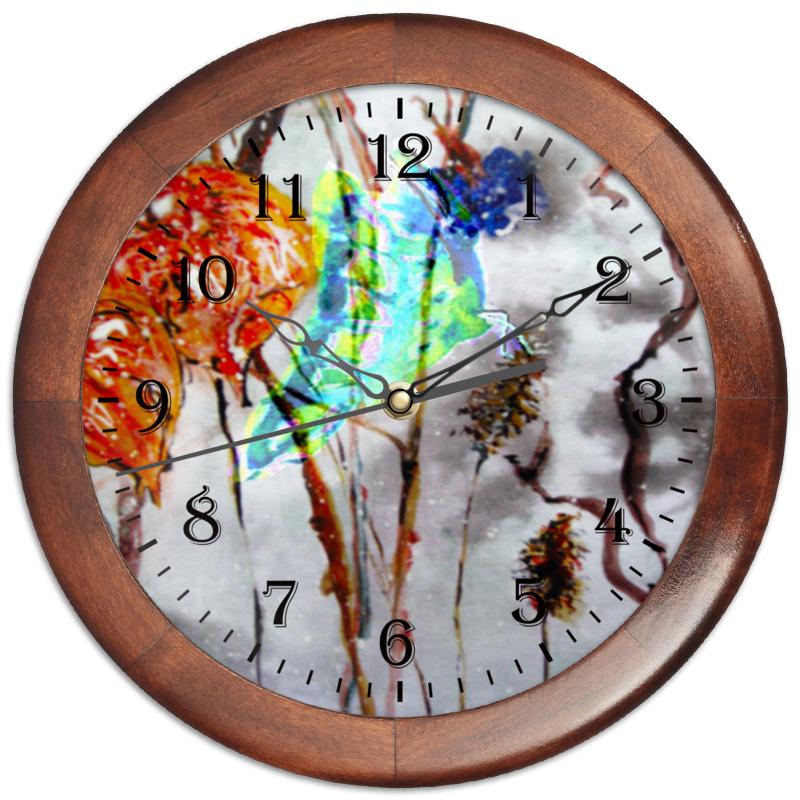 Часы круглые из дерева Printio Физалис и бабочка акунин б алмазная колесница