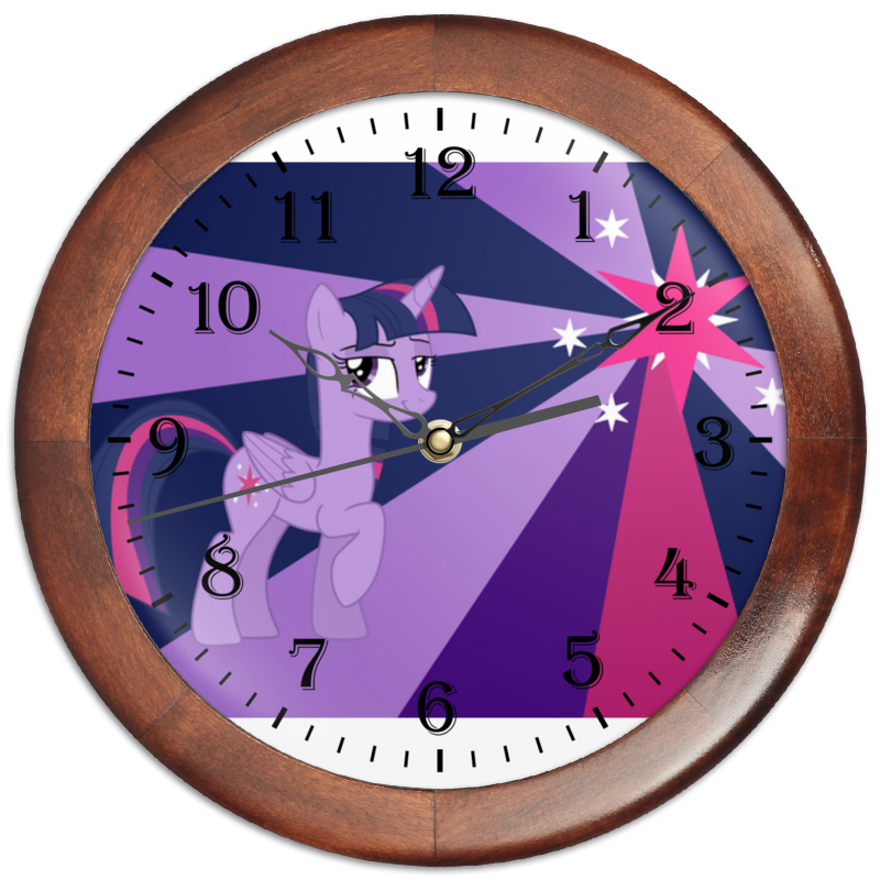Часы круглые из дерева Printio Twilight sparkle color line