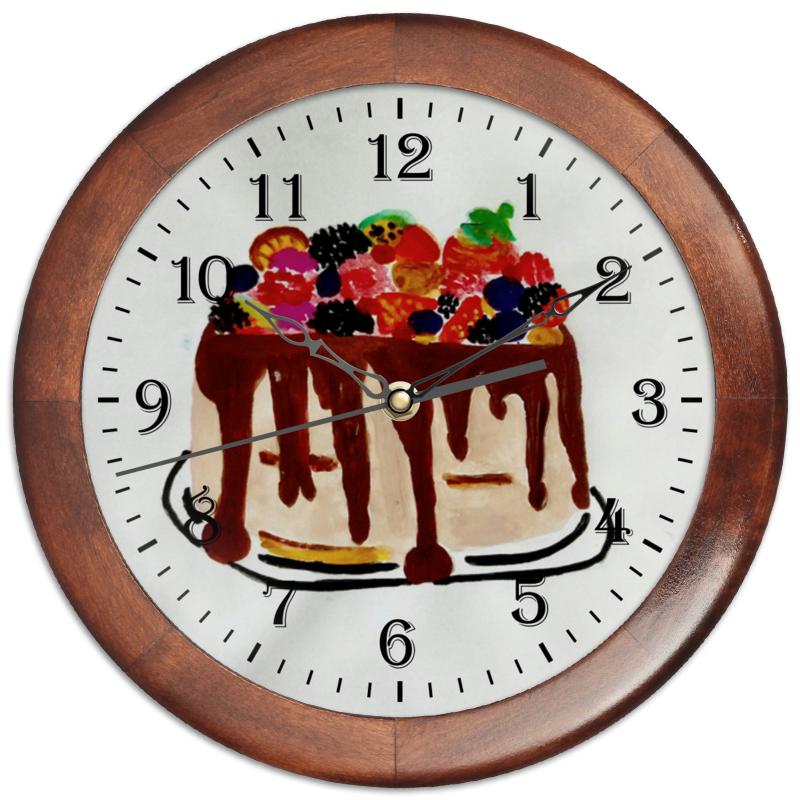 Часы круглые из дерева Printio Тортик просто вкусно праздничный стол