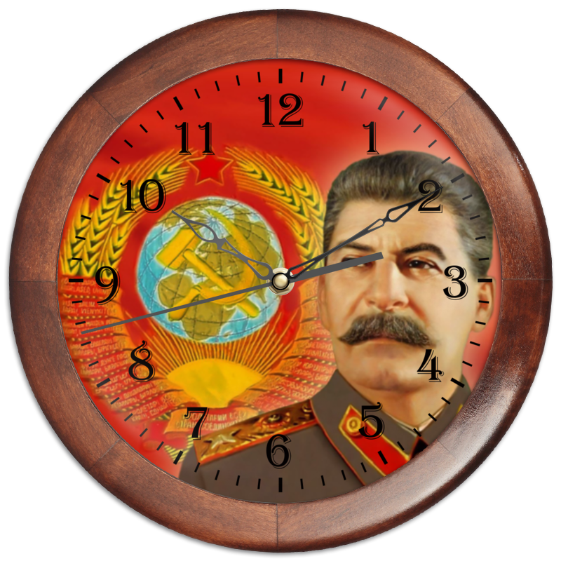 Часы круглые из дерева Printio Время вперед