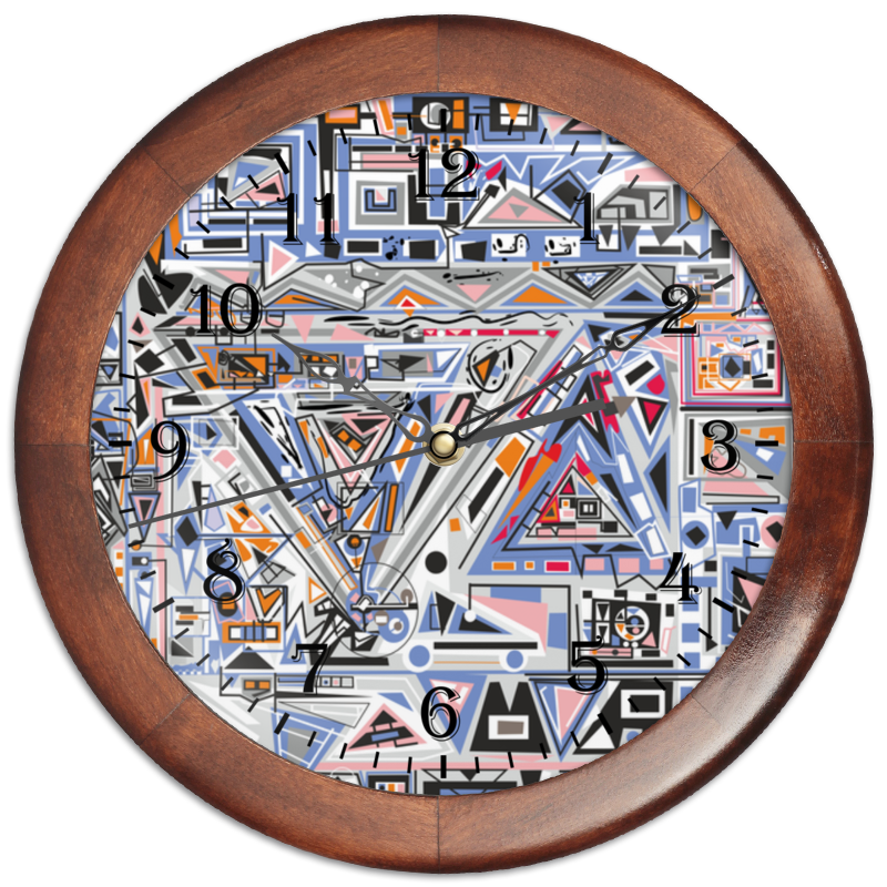Часы круглые из дерева Printio Ташизм