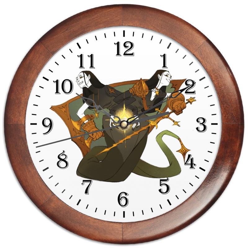 Часы круглые из дерева Printio Знак зодиака близнецы