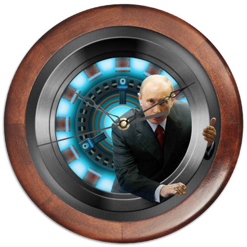 Часы круглые из дерева Printio President (putin)