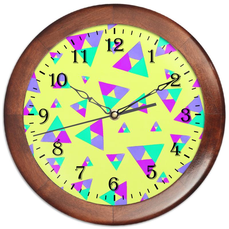 Часы круглые из дерева Printio Треугольник 1