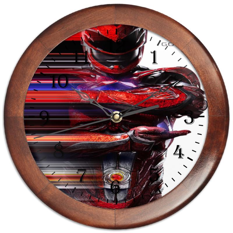 Часы круглые из дерева Printio Могучие рейнджеры часы из дерева для дома