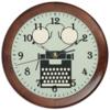 "Часы круглые из дерева ""Коллаж ретро"" - арт, винтаж, хипстер, пишущая машинка"