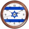 """Часы круглые из дерева """"Земля Обетованная - Израиль!"""" - патриотизм, звезда давида, израиль флаг"""