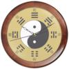 """Часы круглые из дерева """"«Тайцзи» на золотом фоне"""" - монада, триграммы, дао, инь-ян, китай"""
