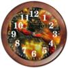 """Часы круглые из дерева """"Dragon Fire"""" - змея, дракон, огонь"""
