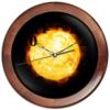 """Часы круглые из дерева """"Утро начинается."""" - звезды, солнце, планета, космос"""