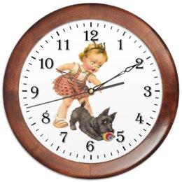 """Часы круглые из дерева """"Девочка играющая с собакой."""" - игра, ретро, рисунок, собака, девочка"""