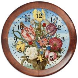 """Часы круглые из дерева """"Букет цветов на полке (Амброзиус Босхарт)"""" - цветы, картина, живопись, натюрморт, босхарт"""