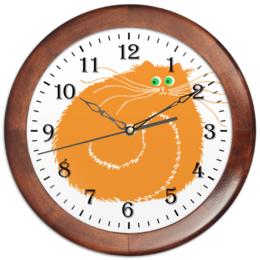 """Часы круглые из дерева """"рыжий час"""" - в подарок, рыжий кот, мартовский кот"""