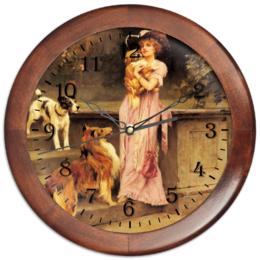 """Часы круглые из дерева """"Собаки"""" - девушка, 8 марта, картина, собака, артур вардль"""