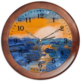 """Часы круглые из дерева """"Часы """"Закат у Лиепаи"""""""" - стиль, море, закат, латвия"""