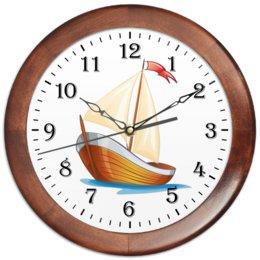 """Часы круглые из дерева """"Кораблик плывущий по волнам."""" - позитив, кораблик, море, парус, плыть"""