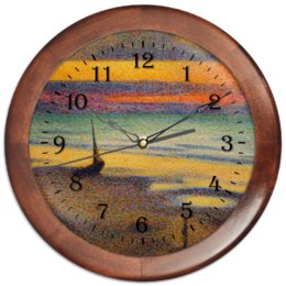 """Часы круглые из дерева """"Пляж в Хейсте (Жорж Леммен)"""" - картина, пейзаж, живопись, жорж леммен, неоимпрессионизм"""