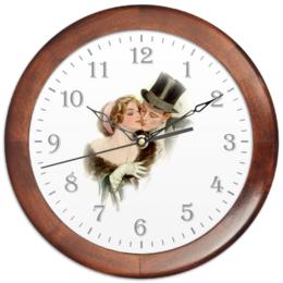 """Часы круглые из дерева """"День Святого Валентина"""" - настроение, арт, винтаж, 14фев, harrison fisher"""