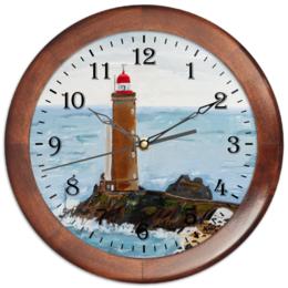 "Часы круглые из дерева ""Маяк Petit Minou"" - арт, море, маяк"