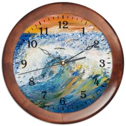 """Часы круглые из дерева """"Волна"""" - арт, море, импрессионизм, природа, волны"""