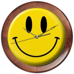 """Часы круглые из дерева """"smile face"""" - смайл, позитив, happy, smile, смайлик, улыбка, улыбки, улабайся, улыбаться"""