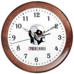 """Часы круглые из дерева """"КиберЛенинка"""" - ленин, наука, киберленинка, киберленин"""