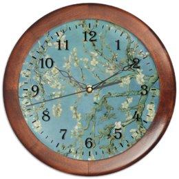 "Часы круглые из дерева ""Цветы миндаля (Ван Гог)"" - картина, ван гог"