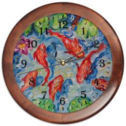 """Часы круглые из дерева """"Золотые рыбки"""" - часы с картиной, оригинальный и неповторимый подарок, часы на стену, красивые часики, недорогй подарок для дома"""