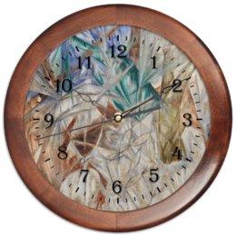 """Часы круглые из дерева """"Стекло (картина Михаила Ларионова)"""" - картина, живопись, авангард, ларионов"""
