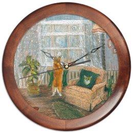 """Часы круглые из дерева """"Ожидание """" - корги"""