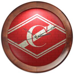 """Часы круглые из дерева """"FC Spartak"""" - футбол, арт, спорт, спартак, фанаты, футбольный клуб, fc spartak"""