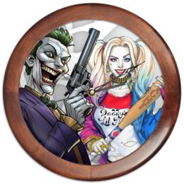 """Часы круглые из дерева """"Suicidesquad Design"""" - джокер, харли квинн, dc комиксы, отряд самоубийц, с пистолетом"""