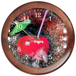 """Часы круглые из дерева """"Яблочный микс"""" - напиток, абстракция, яблоко, фрукт, натюрморт"""