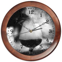 """Часы круглые из дерева """"Бокал дыма"""" - фото, искусство, чернобелое, дым, кальян"""