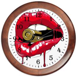 """Часы круглые из дерева """"Пуля во рту"""" - губы, рот, зубы, пуля, bullet"""