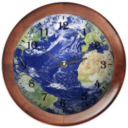 """Часы круглые из дерева """"Мировые Часы"""" - планета, earth, планета земля"""