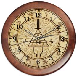 "Часы круглые из дерева ""Bills wheel"" - bill, illuminati, gravity falls, billcipher"